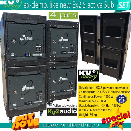 KV2 Audio EX2,5 active subwoofers, EX-DEMO SET